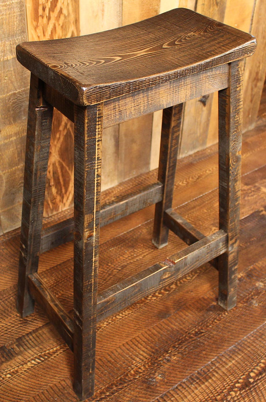Saddle seat rustic bar stools