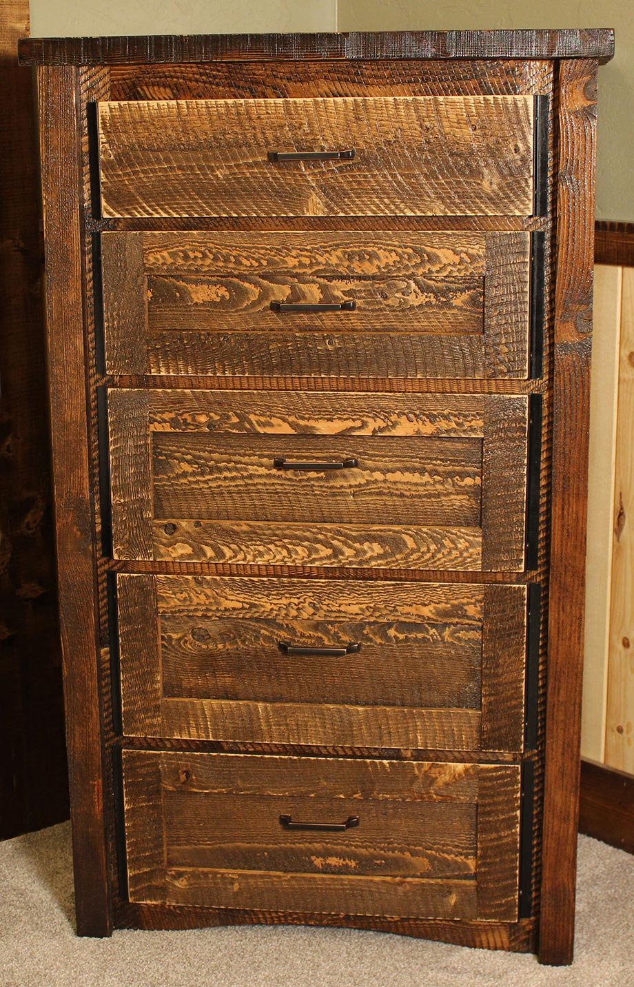 Circle sawn rustic chest of drawers