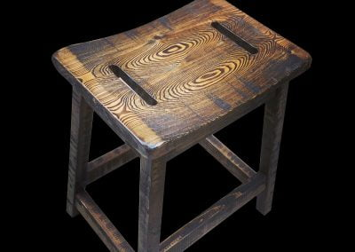Custom Rustic Mirror Slot Bar Stool