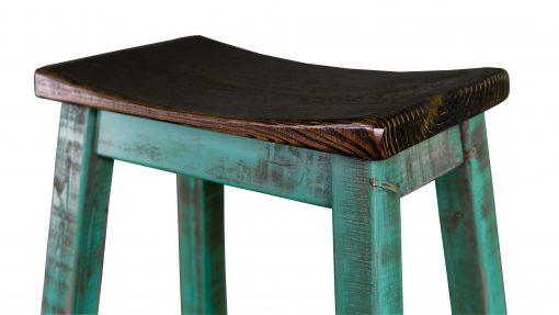 Rustic Saddle Seat Bar Stool Turquoise 2
