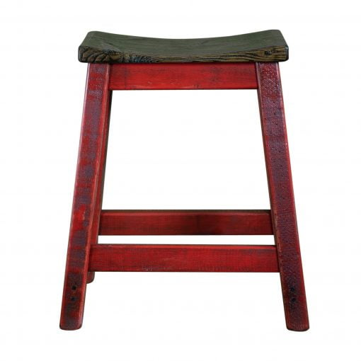 Rustic Saddle Seat Bar Stool Red