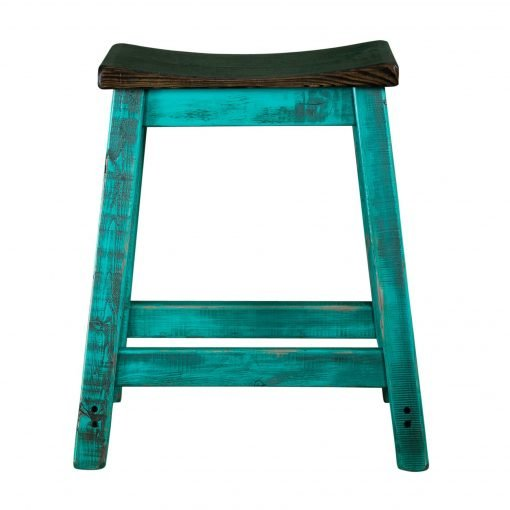 Rustic Saddle Seat Bar Stool Turquoise