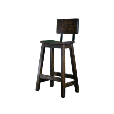 Rustic Dark Brown Bar Stools With Curved Back and Seat