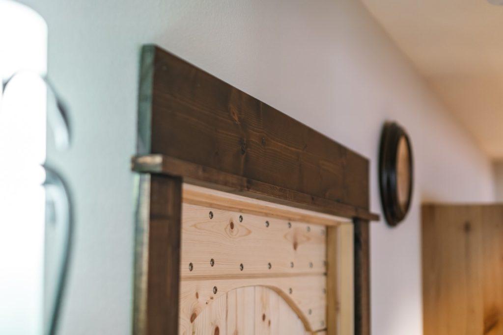 Stained Pine Baseboard - Craftsman Style single ledge header