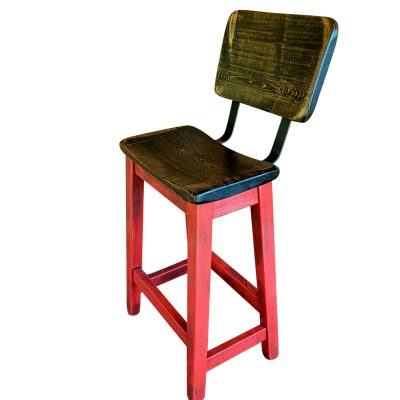 Barnyard Red Bar Stool With Curved Back and Seat
