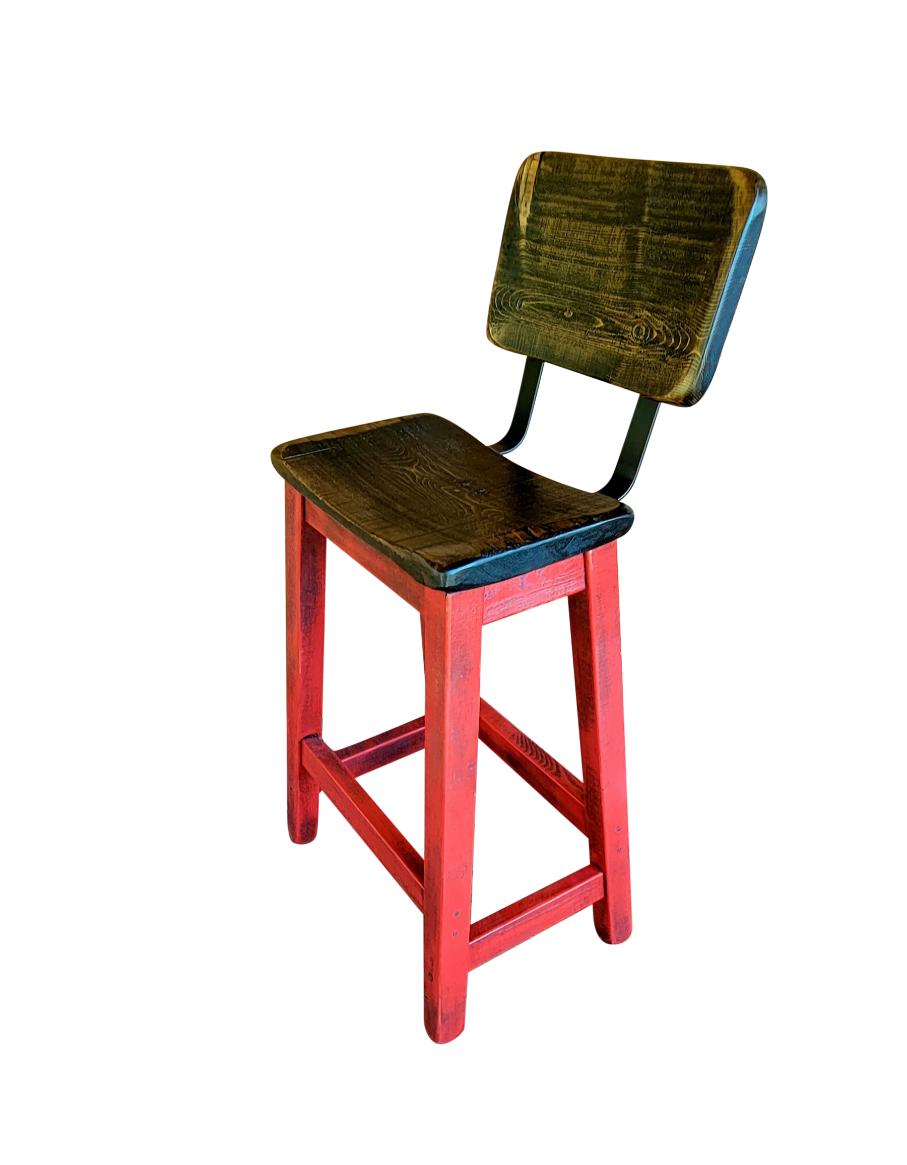 Barnyard Red Bar Stools with Curved Seats and Backs