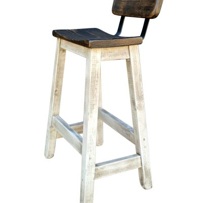 Farmhouse white bar stool with curved back and seat