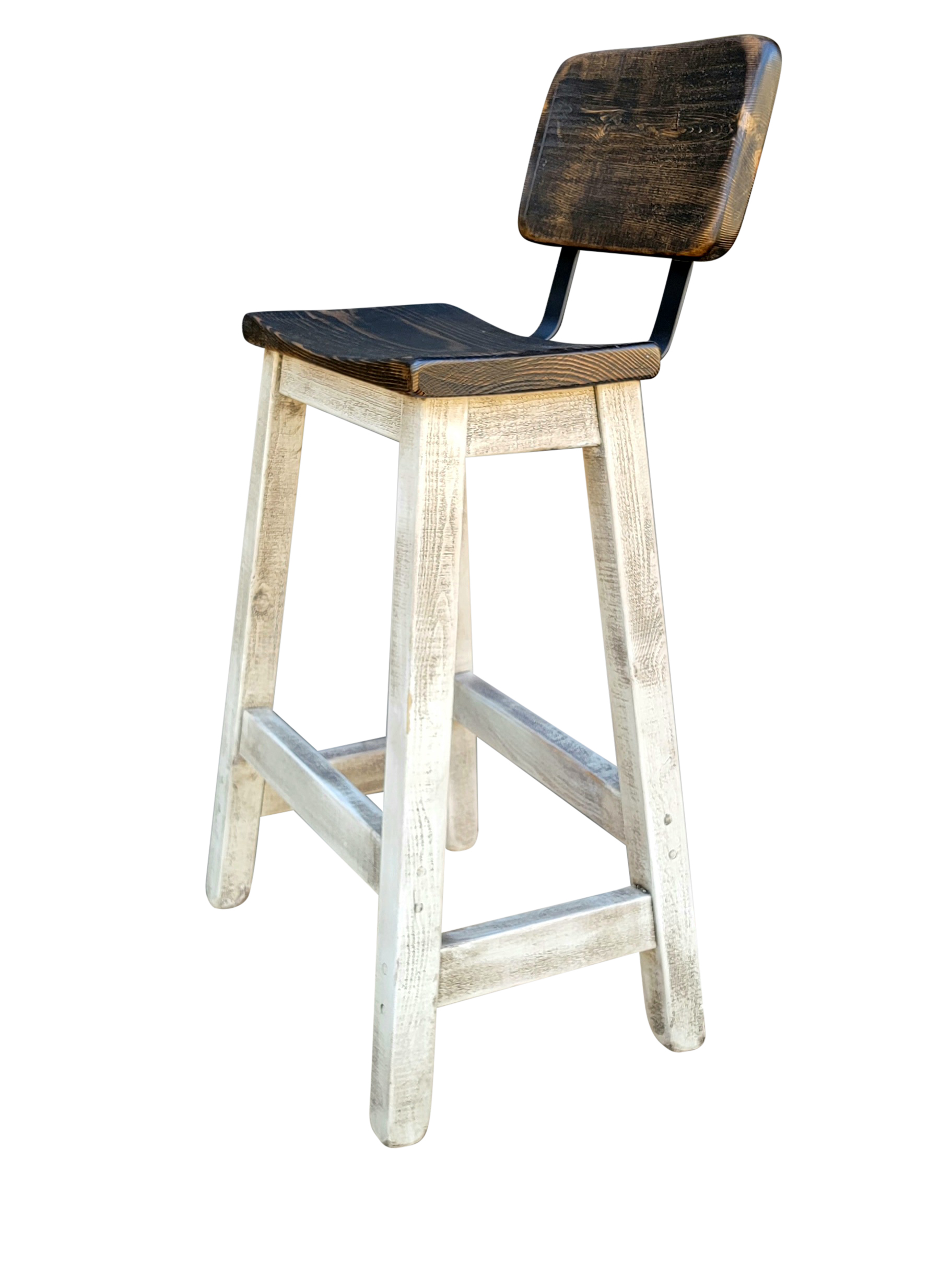 Farmhouse White Bar Stools with Curved Seats and Backs